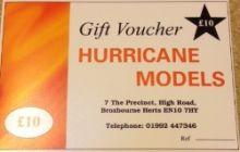 Hurricane Models Gift Voucher £10